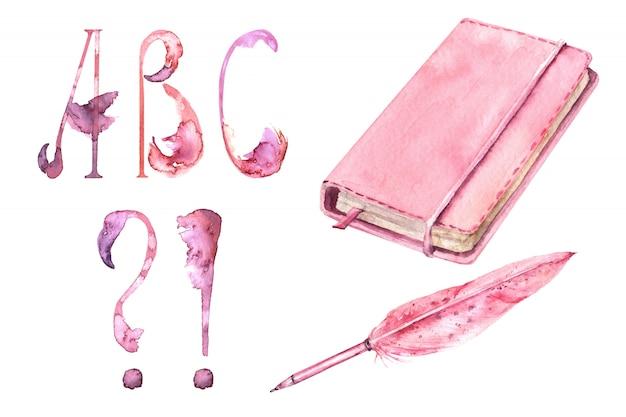 Meninas da escola rosa suprimentos aquarela conjunto