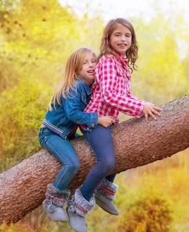 Meninas de amigos de crianças subindo para um tronco de pinheiro