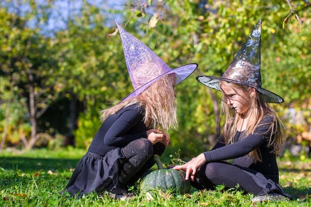 Meninas, fundição, um, feitiço, ligado, dia das bruxas, em, bruxa, traje