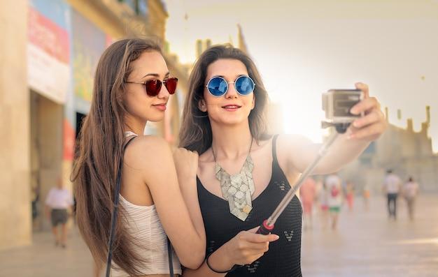 Meninas, levando, selfie