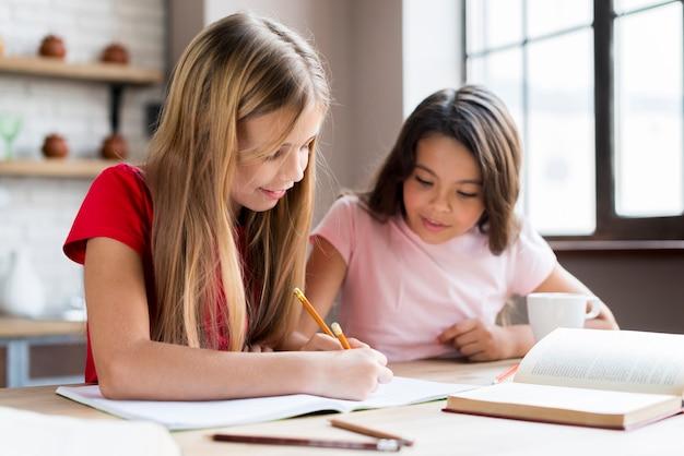 Meninas multiétnicas inteligentes fazendo lição de casa juntos