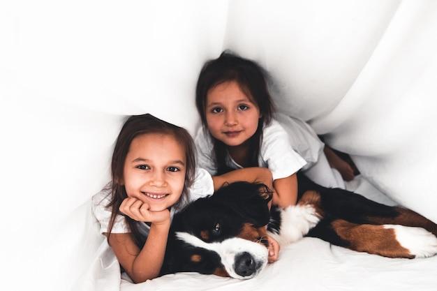 Meninas na cama com cachorro bernese mountain dog