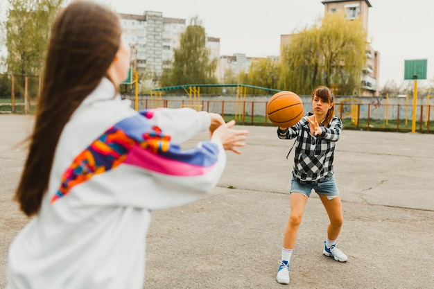 Meninas, passagem, basquetebol