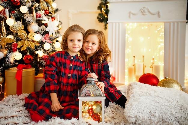 Meninas, sob, árvore natal