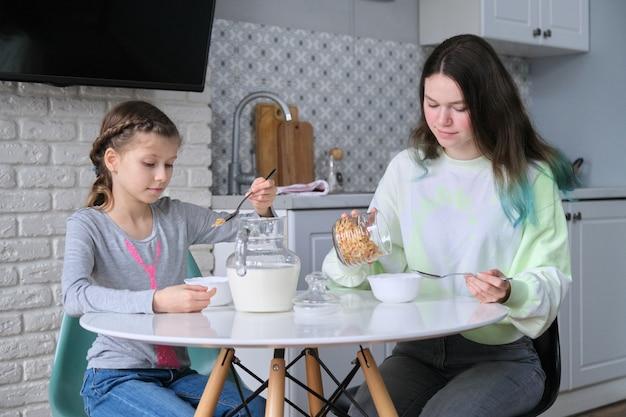 Meninas tomando café da manhã sentadas à mesa na cozinha de casa