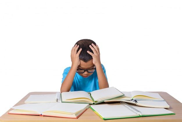 Menininha, com, óculos, pensamento, e, muitos, livro, tabela
