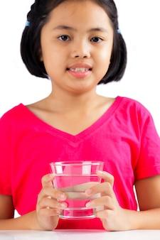 Menininha, com, vidro água
