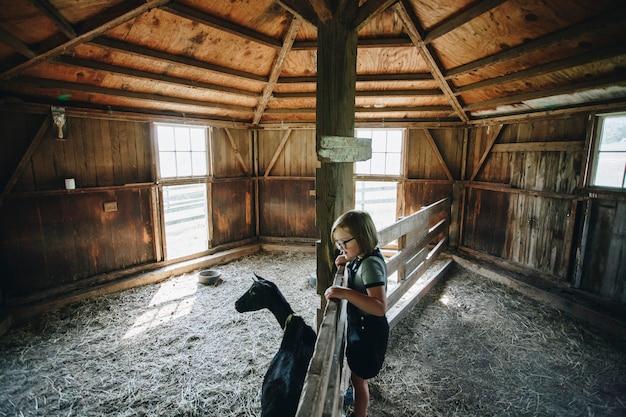 Menininha, tocando, com, um, cabra