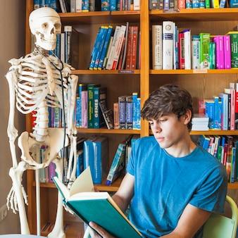 Menino adolescente, leitura, perto, esqueleto