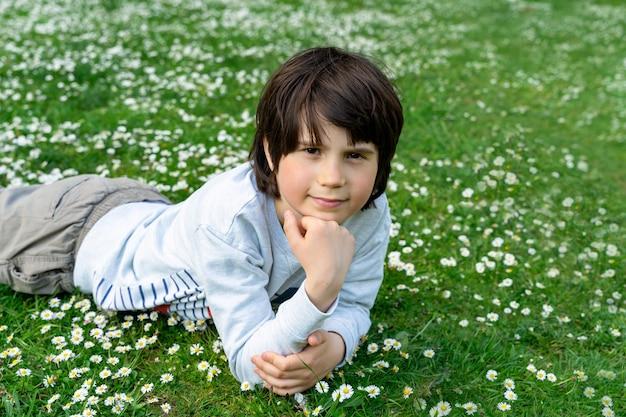 Menino adorável criança deitado na grama com flores margaridas no parque em um dia quente de verão.