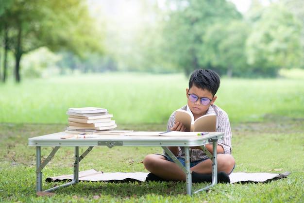 Menino asian, lendo um livro, com, furado, rosto, enquanto, livro leitura, parque