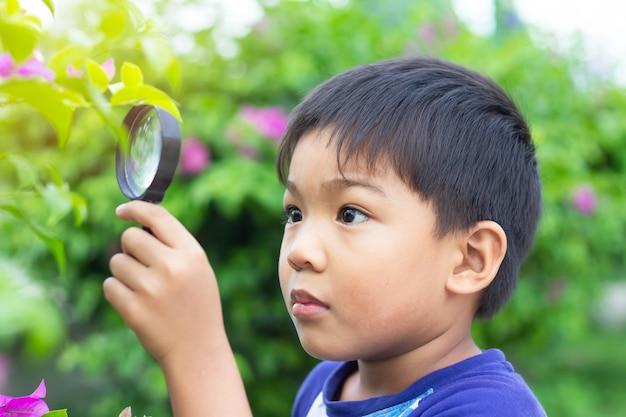 Menino asiático da criança que guarda e que olha com lupa.