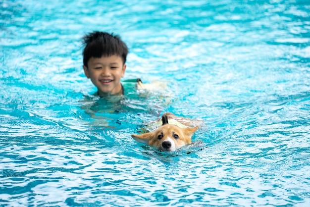 Menino asiático e cachorrinho corgi brincando na piscina