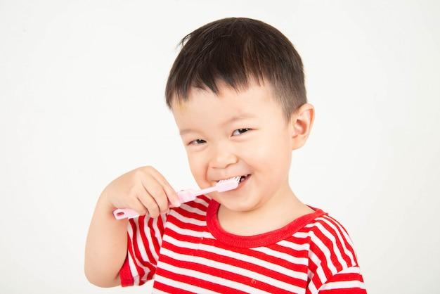 Menino asiático pequeno da criança que escova os dentes