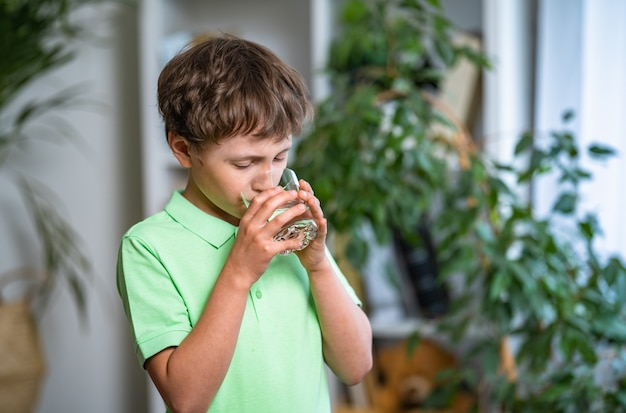 Menino bonitinho água potável em casa. balanço hídrico. prevenção de desidratação