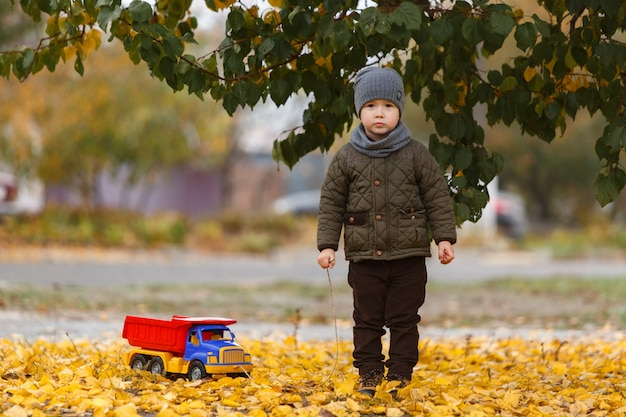 Menino bonitinho andando e brincando com o carro de brinquedo ao ar livre no outono. conceito de infância feliz