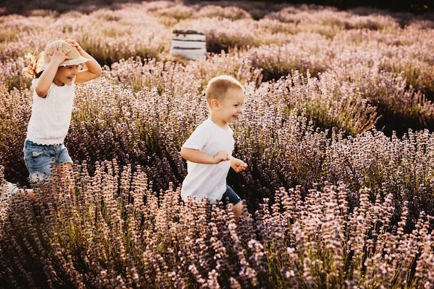 Menino bonitinho correndo com sua adorável irmãzinha em um campo de flores rindo.