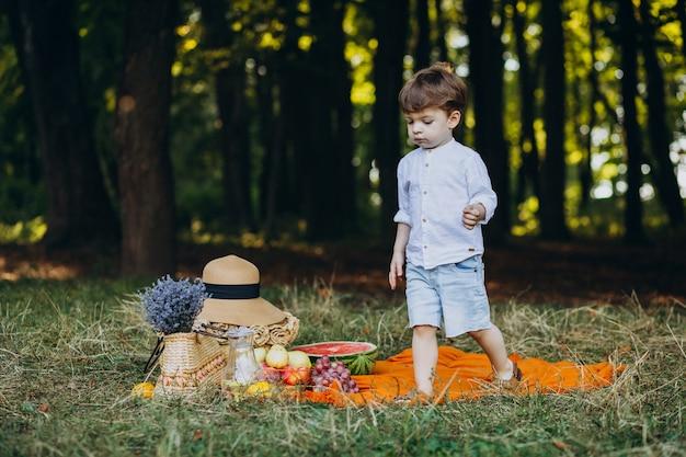 Menino bonitinho no parque fazendo um piquenique