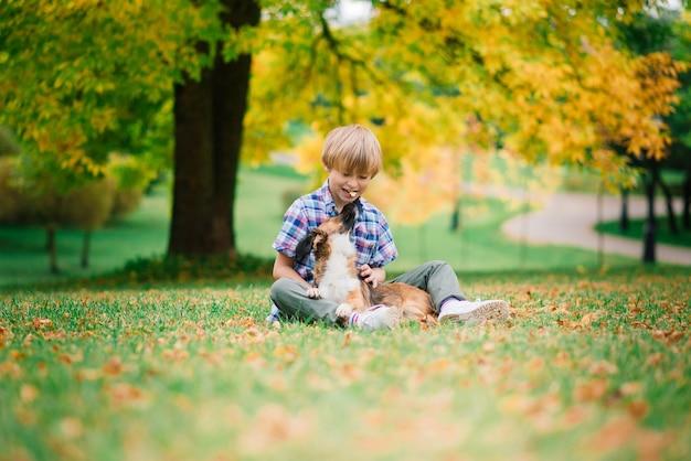 Menino bonito, brincando e andando com seu cachorro no pasto.