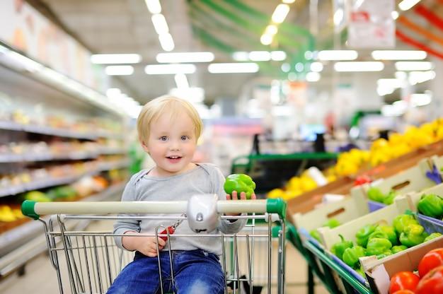 Menino bonito da criança que senta-se no carrinho de compras em uma loja de alimento ou em um supermercado