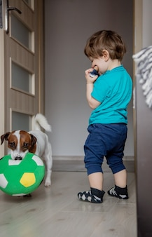 Menino brincar com seu jack russell terrier cachorro.