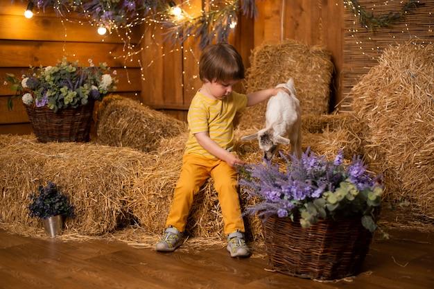 Menino com cabra em um celeiro na fazenda no fundo do feno usando vestido retrô