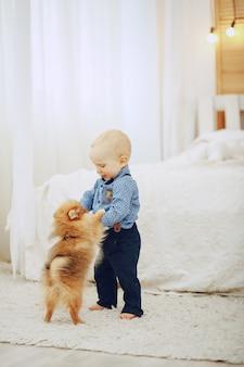 Menino com cachorro