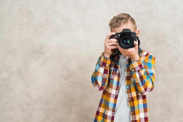 Menino, com, câmera