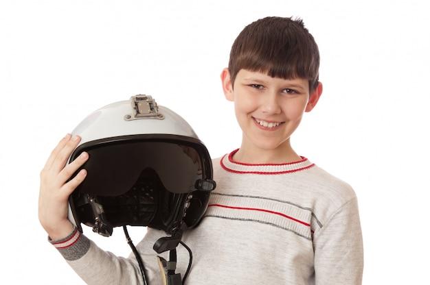 Menino, com, capacete, isolado, branco