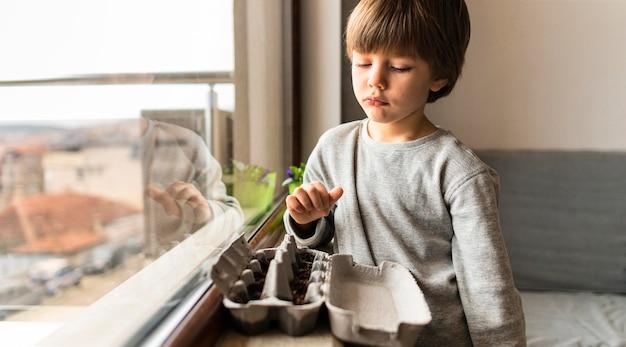 Menino com sementes plantadas em uma caixa de ovos