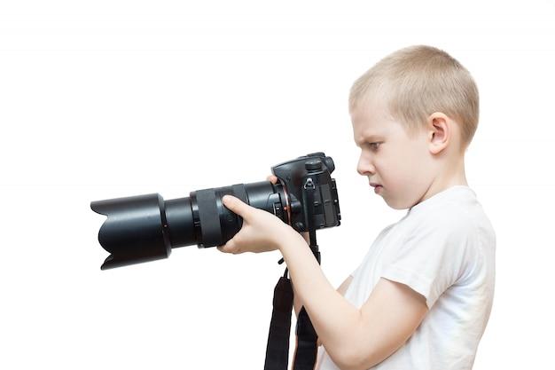 Menino, com, um, câmera