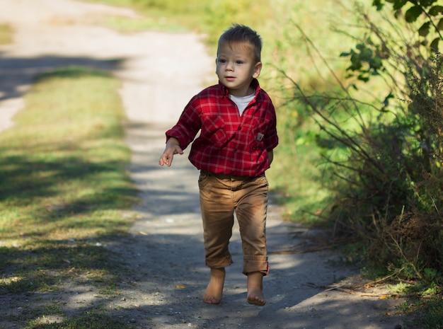 Menino correndo 3 anos de idade do prado