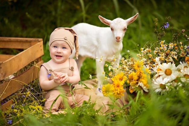 Menino criança feliz com cabras brancas na primavera na natureza na vila com hortaliças e flores.