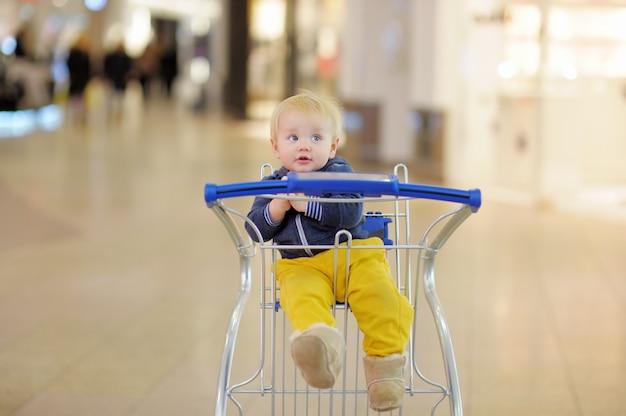 Menino da criança europeia sentado no carrinho de compras