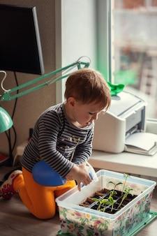 Menino de 2 anos regando mudas de um borrifador enquanto está sentado em uma mesa
