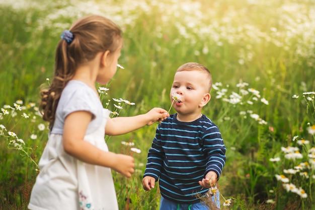 Menino e menina brincam em um prado de flores