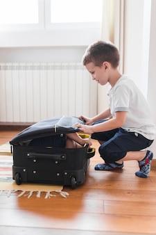Menino, embalagem, seu, irmão, em, bagagem