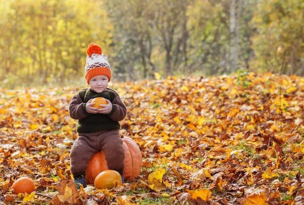 Menino engraçado com abóbora laranja no parque outono