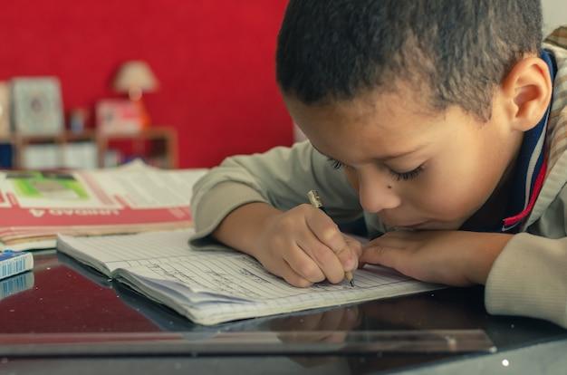 Menino estudando em casa durante a quarentena, livros