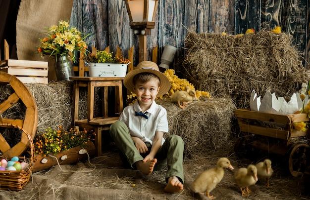 Menino fazendeiro com chapéu de palha sentado na palha com os patinhos no celeiro