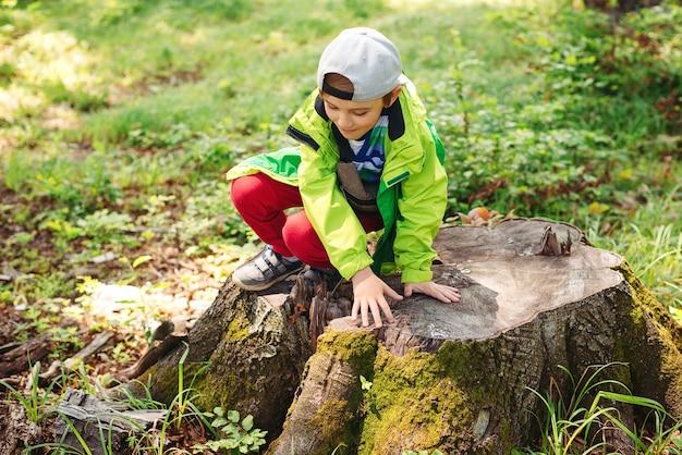 Menino feliz brincando no toco de madeira durante um passeio na floresta.
