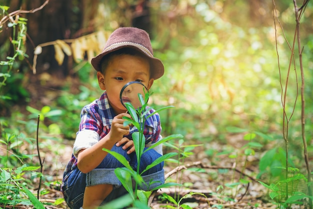 Menino feliz com o explorador de lupa e aprendendo a natureza no quintal de casa