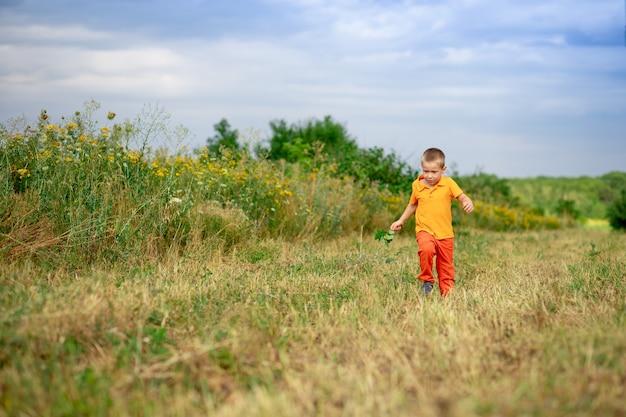 Menino feliz correndo pelo campo no verão