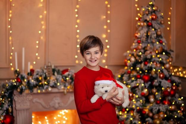 Menino fofo na árvore de natal com um cachorro esperando o feliz natal