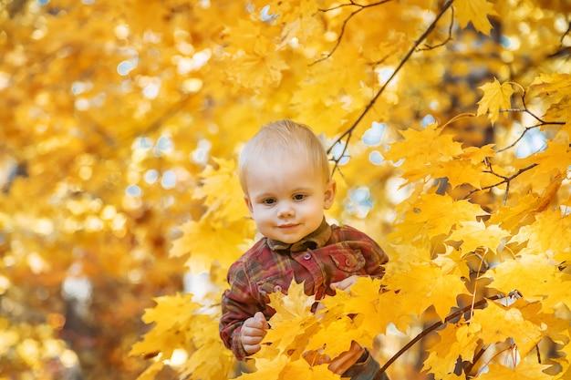 Menino garoto no parque em folhas de outono. foco seletivo.