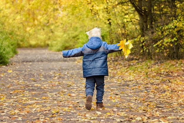 Menino loiro correndo pelo parque outono com os braços abertos. vista traseira