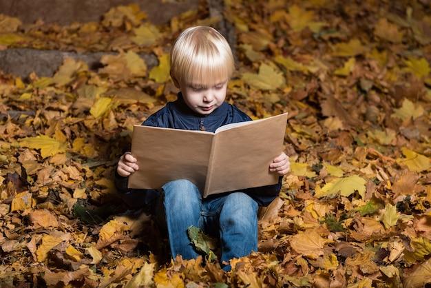 Menino loiro lendo livro na floresta de outono, sentado nas folhas caídas. retrato.