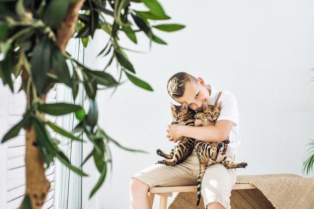 Menino na moda lindo e feliz com gatinhos fofos de bengala juntos