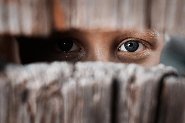 Menino olha através da lacuna na cerca