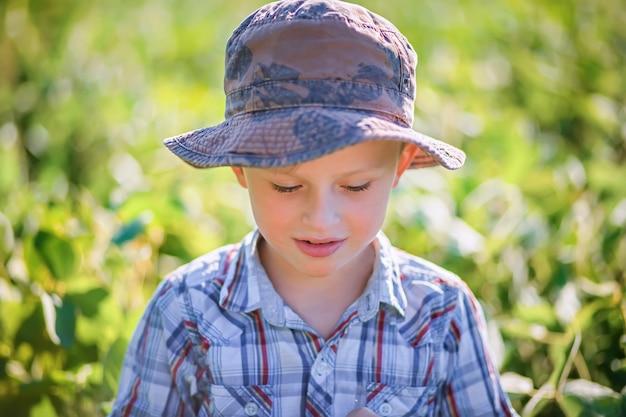 Menino triste no panamá e camisa quadriculada no verão em campo com soja.